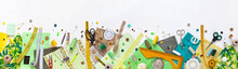 Spring Sewing And Home Needlework. Panoramic Top View On Green And Yellow Pieces Of Fabric, And Sewing Accessories On White Background. Flat Lay, Copy Space, Closeup, Banner, Mock Up