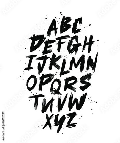 Fotografie, Tablou Vector Hand Drawn Alphabet Font