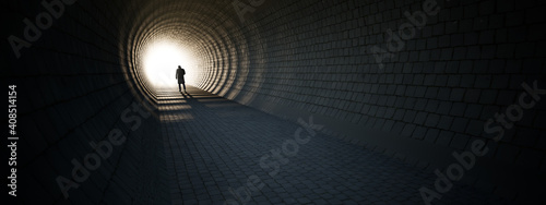 Photo Concept or conceptual dark tunnel with a bright light at the end or exit as meta