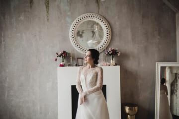 Beautiful bride smiling in wedding dress