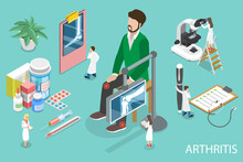 3D Isometric Flat Vector Conceptual Illustration Of Arthritis, Treatment Of Joints Disorder.