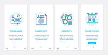 Police Crime Symbols Vector Illustration. UX, UI Onboarding Mobile App Page Screen Set With Line Abstract Badge Of Cop Policeman, Criminal Fingerprints, Handcuff For Gangster, Police Station Building