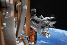The SpaceX Crew Dragon Spacecraft Is Docked To The International Space Station. Elements Of This Image Furnished By NASA