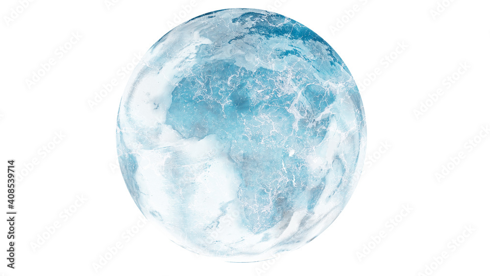 Fototapeta Planet Earth Frozen Cold Blue and white globe changing climate