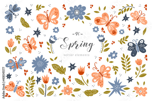 Obraz Spring big collection. Hand drawn illustration on white background - fototapety do salonu