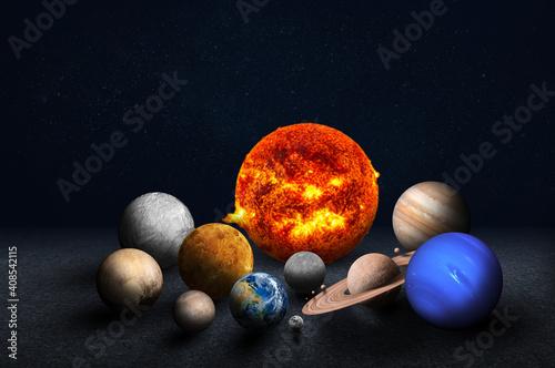 Obraz na plátně The solar system consists of the Sun, Mercury, Venus, Earth, Mars, Jupiter, Saturn, Uranus, Neptune, Pluto