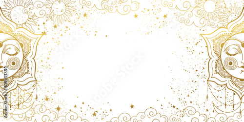White magic background with sleeping golden sun with face, space decor with copy space and stars Wallpaper Mural