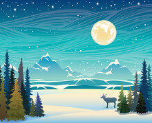 Winter Landscape - Mountains, Forest, Deer And Night Starry Sky.