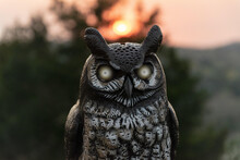 Closeup Of A Wooden Owl Totem On A Sunset Sky Background