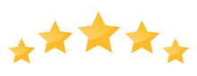 Five Stars Icon Isolated On White Background. Stars Rating Review Icon For Website And Mobile Apps. Vector Illustration
