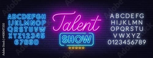 Obraz na płótnie Talent show neon sign on brick wall background