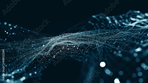 Big data and cybersecurity 3D illustration. Neural networks and artificial intelligence. Information Waves and Global Database. Abstract technological background - fototapety na wymiar