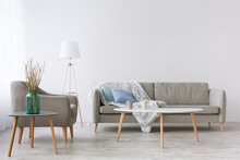 Sofa With Blue Pillows And Fluffy Blanket, Armchair, Lamp And Table With Two Cups