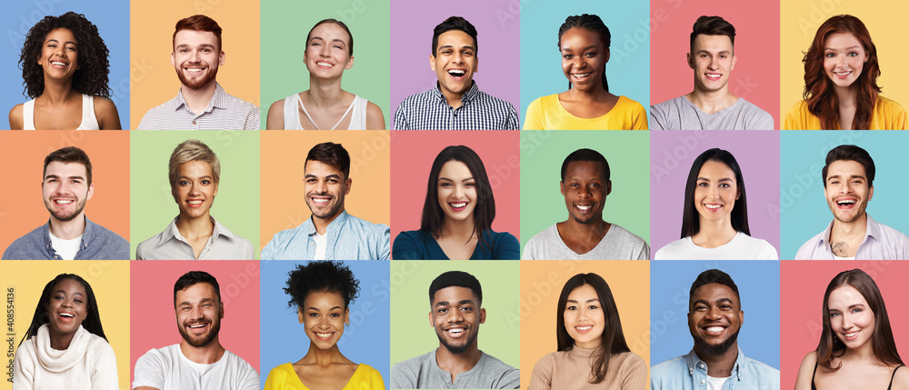 Fototapeta Positive Multiethnic People Faces Collage Over Different Colored Backgrounds, Panorama