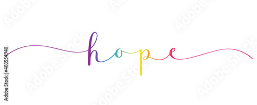 Canvas HOPE vector rainbow gradient brush calligraphy banner with swashes isolated on w