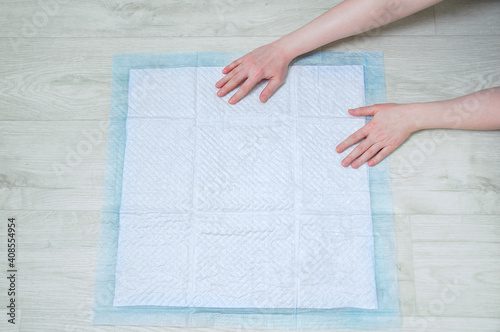 Photo Hygienic absorbent pad for litter dogs on floor.