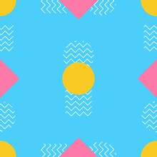Seamless Pattern Geometric Memphis Style Squares, Circles And Zigzag Lines With Colorful Color. Suitable For Fashion Patterns, Backgrounds, Etc.