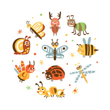 Funny Insects In Circular Shape Banner Template, Cover, Poster, Invitation Card, Flyer Design With Cute Caterpillar, Dragonfly, Ladybug, Grasshopper, Spider Insects Vector Illustration