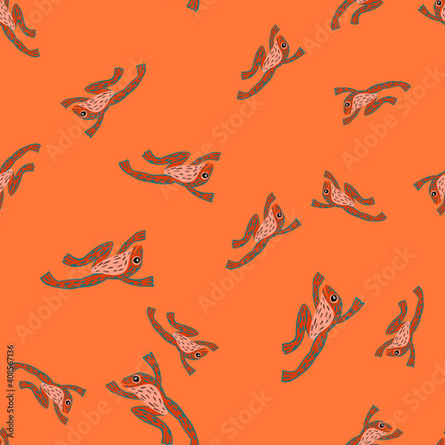 Random seamless nature wild zoo pattern with frog silhouettes ornament Wallpaper Mural