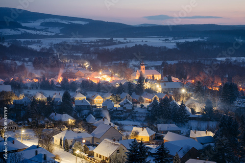 Fototapeta Winter in Bakonybel, a small touristic town located in the Bakony mountain range