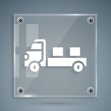 White Pickup Truck Icon Isolated On Grey Background. Square Glass Panels. Vector.