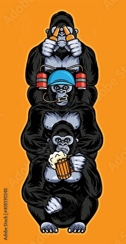 Totem With Three Wise Monkeys. Three Wise Gorillas Holding A Mug Of Beer, With Beer helmet and beer bottles. © moloko88