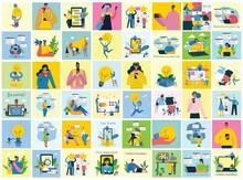 Vector Illustration Of Concept Of Team Work, Business And Start Up Design Backgrounds. Tock Vector Illustration.