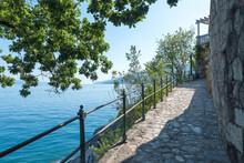 Coastal  Walkway And Wall With Natural Stones, Blue Ocean Kvarner Bucht, Croatia
