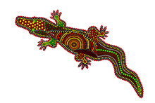 Crocodile Isolated On White Background. Australia Aboriginal Crocodile Dot Painting. Aboriginal Styled Alligator. Decorative Ethnic Style. Element For Flyer, Poster, Banner, Placard, Brochure. Vector