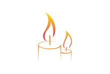 Outline Ribbon Candle Logo Template