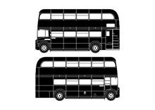 Double Decker Bus. Silhouette Of Vintage London Double Decker. Side View. Flat Vector.
