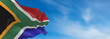 canvas print picture - Large South Africa flag waving in the wind