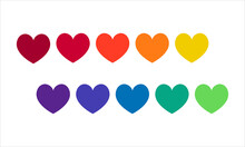 Set Of Colorful Hearts, Rainbow Colors, On A White Background.