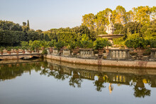 Pond And Fountain In Boboli Gardens In Florence, Italy