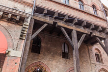 Wooden Beam Portico Of Palazzo Grassi Palace In Bologna, Italy