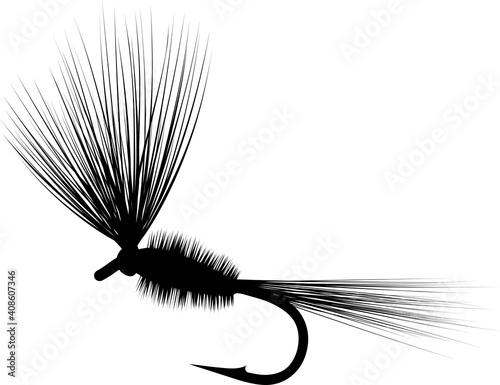 Fotografie, Obraz dry fly silhouette - fishing lure