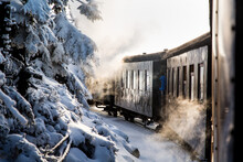 View Of Train By Snow Covered Tree During Winter