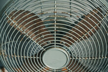 Detail Of Rusty Vintage Electric Fan, Old Film Look Effect