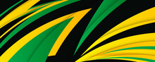 Abstract Green Yellow Black Orange Vector Background With Stripes. Speed Yellow Green Abstract Background.