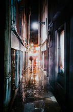 Rear View Of Person Walking Amidst Illuminated Building