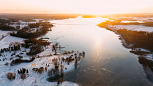 High Angle View Of Frozen Lake During Sunset