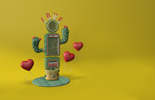 3D Illustration Of Cactus With Thorns And Neon Graphic Of Disabled Person. With The Phrase Love To The Needy. Heart-shaped Balloons.