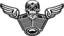 Skull Motorcycle Engine. Skeleton And Motorbike