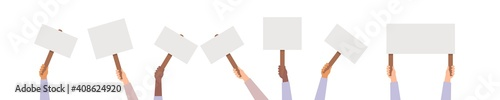 Hand holding protest posters vector, rebel placards in hands people activist crowd illustration Wallpaper Mural