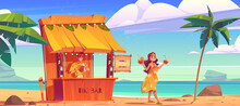 Woman Buying Cocktail In Tiki Hut Bar With Barman On Hawaii Beach, Smiling Girl In Summer Dress Carry Coconut Drink Walking Along Sandy Ocean Coastline With Palm Trees, Cartoon Vector Illustration