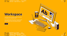 Workspace Isometric Landing Page. Designer Home Office, Freelancer Workplace With Computer Monitor Connected To Painting Tablet, Digital Pen And Dynamics On Desk , 3d Vector Line Art Web Banner