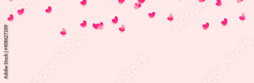 Obraz Pink hearts, decorative design elements for Valentine's day. Vector - fototapety do salonu
