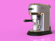 Leinwandbild Motiv A silver espresso coffee machine on pink background with space for text. 3D render.