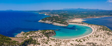 Aerial Panorama View Of The Famous Semicircular Sandy Beach And Lagoon Of Voidokilia In Messenia, Greece