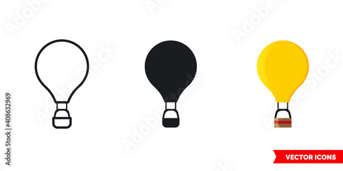 Balloon icon of 3 types color, black and white, outline Fototapete